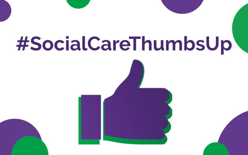 Image shows a purple thumbs up with #socialcarethumbsup written above with a number of green and purple circles across the image.